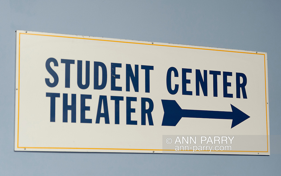 """Entrance lobby to Student Center Theater ain North Campus of Hofstra University, Hempstead, New York, USA, on April 19, 2012, where Debate 2012 """"Change in the White House"""" event was held."""