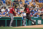 Arizona Diamondbacks' Reymond Fuentes hits a home run against the Los Angeles Dodgers in a spring training game in Glendale, Ariz., on Friday, March 24, 2017.<br /> Photo by Cathleen Allison/Nevada Photo Source