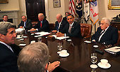 United States President Barack Obama makes a statement during a meeting with present administration officials and former Secretaries of State and Defense in the Roosevelt Room of the White House on Thursday, November 18, 2010.  From left to right: US Senator John Kerry (Democrat of Massachusetts);  William Cohen, former US Secretary of Defense; former US Senator Sam Nunn (Democrat of Georgia), arms control expert;  James A. Baker III, former US Secretary of State; US Vice President Joseph Biden; President Obama; Henry Kissinger, former US Secretary of State; and General James Cartwright, Vice Chairman Joint Chiefs of Staff. .Credit: Dennis Brack / Pool via CNP