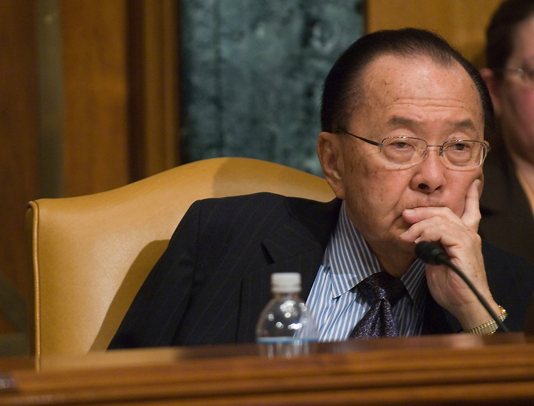 "WASHINGTON, DC - March 4: Sen. Daniel K. Inouye, D-Hawaii, who chaired the meeting in the absence of subcommittee Chairman Robert C. Byrd of West Virginia, as Homeland Security Secretary Michael Chertoff testifies during the Senate Appropriations Homeland Security Subcommittee hearing on the fiscal 2009 homeland security budget proposal. Democrats on the panel blasted President Bush's fiscal 2009 budget request for slashing funding for state and local first responders in half, while Republicans lauded it for prioritizing border security. ""Dramatically cutting funds for police, fire and emergency responders is not an emergency solution,"" said Inouye. Inouye promised the subcommittee would reconsider the president's ""ill-considered cuts,"" despite Bush's open threat to veto any appropriations bills that exceeds the amount of funding requested. (Photo by Scott J. Ferrell/Congressional Quarterly)"