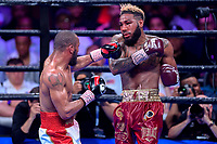 """Fairfax, VA - May 11, 2019: Julian J-Rock"""" Williams against Jarrett """"Swift"""" Hurd during Jr. Middleweight title fight at Eagle Bank Arena in Fairfax, VA. Julian Williams defeated Hurd to take home the IBF, WBA and IBO Championship belts by unanimous decision. (Photo by Phil Peters/Media Images International)"""