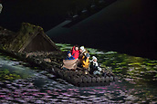 9th February 2018, Pyeongchang, South Korea; 2018 Winter Olympic Games; PyeongChang Olympic Stadium; Young children enter the Olympic Stadium on a raft during the Opening Ceremony