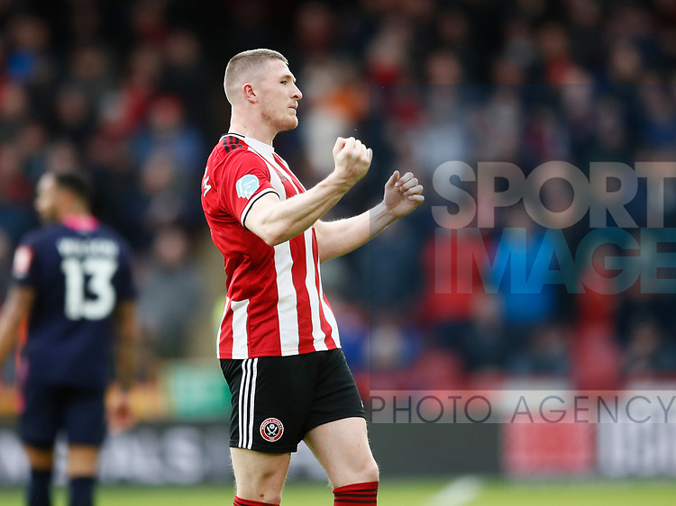John Lundstram of Sheffield Utd  celebrates scoring the winning goal during the Premier League match at Bramall Lane, Sheffield. Picture date: 9th February 2020. Picture credit should read: Simon Bellis/Sportimage