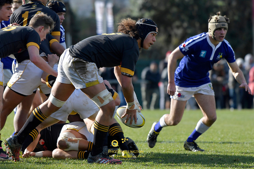 Action from the College Rugby Premiership Final - St Patricks Town v Wellington College at Porirua Park, Porirua, New Zealand on Sunday 14 August 2016. <br /> Photo by Masanori Udagawa. <br /> www.photowellington.photoshelter.com.