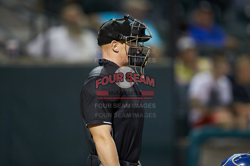 Home plate umpire Lane Culipher works the Appalachian League playoff game between the Burlington Royals and the Pulaski Yankees at Calfee Park on September 1, 2019 in Pulaski, Virginia. The Royals defeated the Yankees 5-4 in 17 innings. (Brian Westerholt/Four Seam Images)