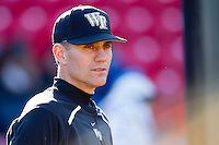 Wake Forest Demon Deacons head coach Tom Walter #32 prior to the game against the Western Carolina Catamounts at Gene Hooks Field on February 22, 2011 in Winston-Salem, North Carolina.  Photo by Brian Westerholt / Four Seam Images