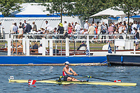"""Henley on Thames, United Kingdom, 6th July 2018, Friday, View,  """"Third day"""", of the annual,  SUI W1X., """"Jeannine GMELIN"""", """"Boating"""",  to race in her first heat, """"Henley Royal Regatta"""", Henley Reach, River Thames, Thames Valley, England, © Peter SPURRIER,"""