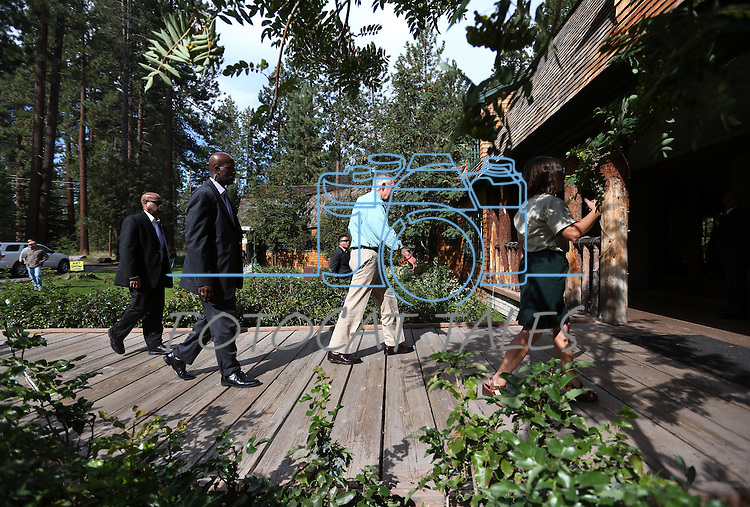U.S. Senate Majority Leader Harry Reid arrives at the 18th annual Lake Tahoe Summit at the Valhalla Estate in South Lake Tahoe, Ca., on Tuesday, Aug. 19, 2014. <br /> Photo by Cathleen Allison