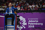 Referee, <br /> AUGUST 22, 2018 - Badminton : Men's Team Final match between China - Indonesia at Gelora Bung Karno Istora during the 2018 Jakarta Palembang Asian Games in Jakarta, Indonesia. <br /> (Photo by MATSUO.K/AFLO SPORT)