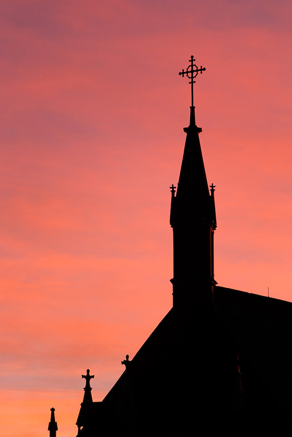Silhouette of the Loretto Chapel at sunset, Santa Fe, New Mexico