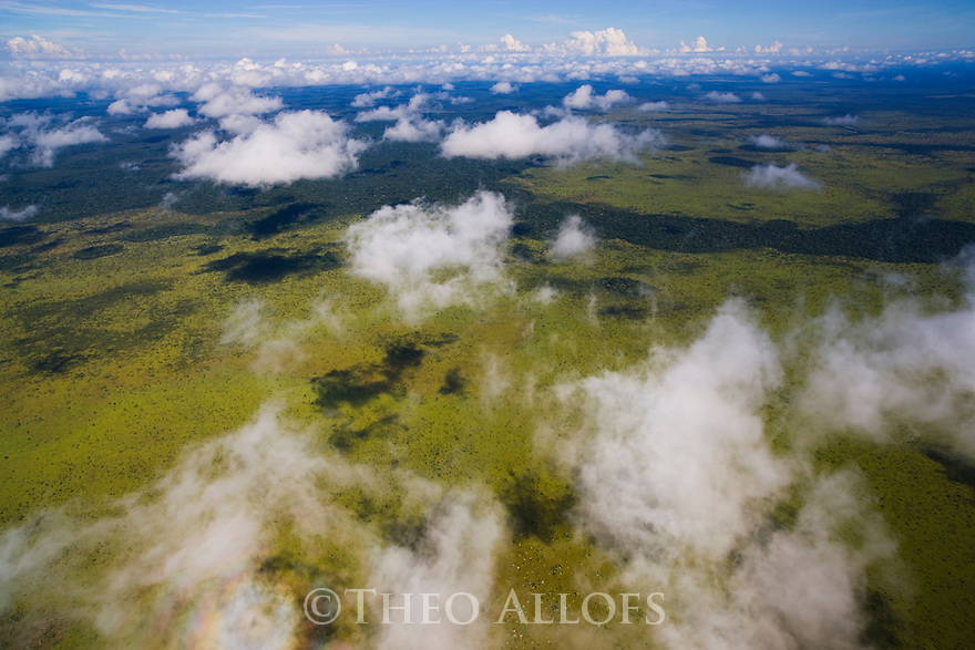Bolivia, Beni Department, aerial view of  clouds above tree savannah south of the Amazon rain forest