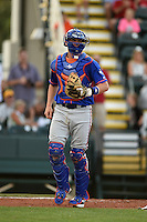 St. Lucie Mets catcher Jeff Glenn (24) watches a play during a game against the Bradenton Marauders on April 11, 2015 at McKechnie Field in Bradenton, Florida.  St. Lucie defeated Bradenton 3-2.  (Mike Janes/Four Seam Images)