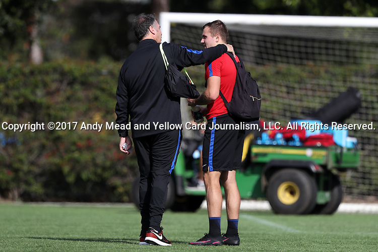 11 January 2017: Head coach Bruce Arena (left) with Jordan Morris (right). The United States Men's National Team held their first training session under new head coach Bruce Arena on The Murphy Family Field at the StubHub Center in Carson, California.