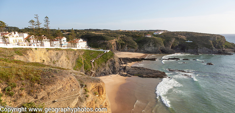 Sandy beach in bay between rocky headlands part of Parque Natural do Sudoeste Alentejano e Costa Vicentina, Costa Vicentina and south west Alentejo natural park, Zambujeira do Mar, Alentejo Littoral, Portugal, southern Europe