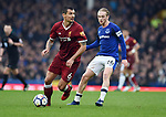 Dejan Lovren of Liverpool is challenged by Tom Davies of Everton during the premier league match at Goodison Park Stadium, Liverpool. Picture date 7th April 2018. Picture credit should read: Robin Parker/Sportimage