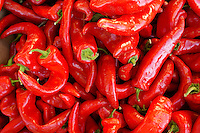 Red chili peppers at a Commercial Street market, Vancouver, BC, Canada