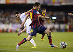 Leo Messi vies with Isco Alarcon during the Spanish King's Cup Final football match Real Madrid Madrid CF vs FC Barcelona  at the Mestalla stadium in Valencia on April 16, 2014  PHOTOCALL3000 / DP