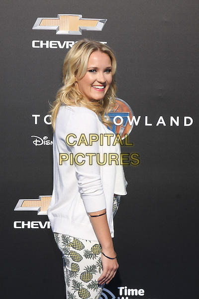 ANAHEIM, CA - MAY 9: Emily Osment at the world premiere of Disney's 'Tomorrowland' at Disneyland, Anaheim on May 9, 2015 in Anaheim, California. <br /> CAP/MPI/DC/DE<br /> &copy;DE/DC/MPI/Capital Pictures