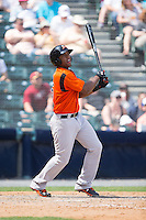 Sharlon Schoop (5) of the Bowie Baysox follows through on his swing against the Richmond Flying Squirrels at The Diamond on May 24, 2015 in Richmond, Virginia.  The Flying Squirrels defeated the Baysox 5-2.  (Brian Westerholt/Four Seam Images)