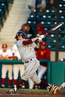 James McDonald #7 of the Arizona State Sun Devils bats against the USC Trojans at Dedeaux Field on April 12, 2013 in Los Angeles, California. USC defeated Arizona State, 5-0. (Larry Goren/Four Seam Images)