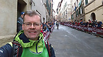 Waiting for the riders on the final brutal 17% climb of Via Santa Caterina in Siena during the 2017 Strade Bianche running 175km from Siena to Siena, Tuscany, Italy 4th March 2017.<br /> Picture: Eoin Clarke | Newsfile<br /> <br /> <br /> All photos usage must carry mandatory copyright credit (&copy; Newsfile | Eoin Clarke)