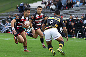 Jonathan Taumeine makes a run at Te Toiroa Tahuriorangias he attacks from a scrum. Mitre 10 Cup rugby game between Counties Manukau Steelers and Taranaki Bulls, played at Navigation Homes Stadium, Pukekohe on Saturday August 10th 2019. Taranaki won the game 34 - 29 after leading 29 - 19 at halftime.<br /> Photo by Richard Spranger.