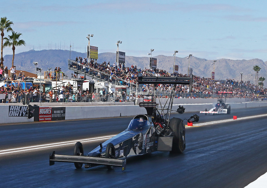 Feb 26, 2017; Chandler, AZ, USA; NHRA top fuel driver Shawn Reed during the Arizona Nationals at Wild Horse Pass Motorsports Park. Mandatory Credit: Mark J. Rebilas-USA TODAY Sports