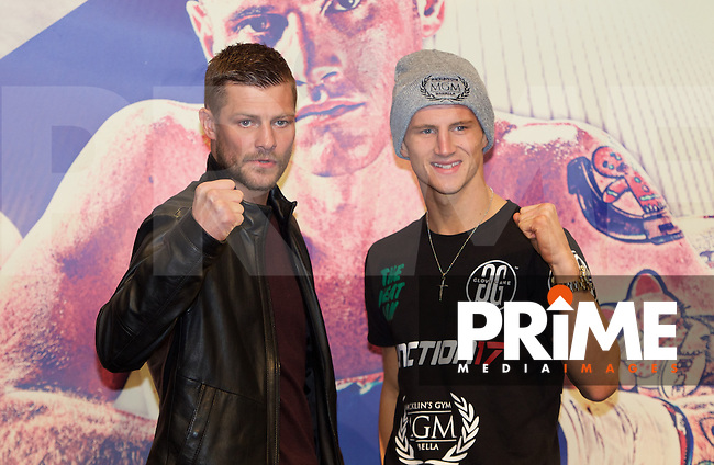 John Wayne Hibbert (left) and Tommy Martin during the final press conference ahead of the George Groves v Andrea Di Luisa fight set for Saturday 30th January 2016 at the Copper Box, at Stratford Circus, Theatre Square, England on 28 January 2016. Photo by Alan  Stanford/PRiME Media Images.