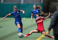Seattle, WA - Saturday Aug. 27, 2016: Manon Melis, Meleana Shim, Jessica Fishlock during a regular season National Women's Soccer League (NWSL) match between the Seattle Reign FC and the Portland Thorns FC at Memorial Stadium.