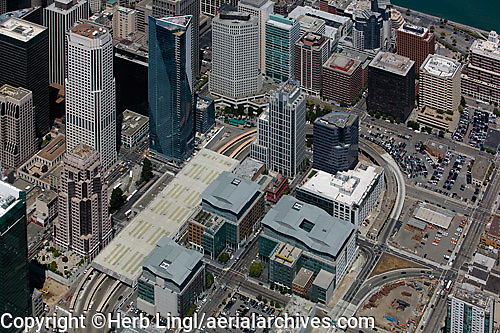 aerial photograph Millenium Tower, 50 Fremont Center, San Francisco, California