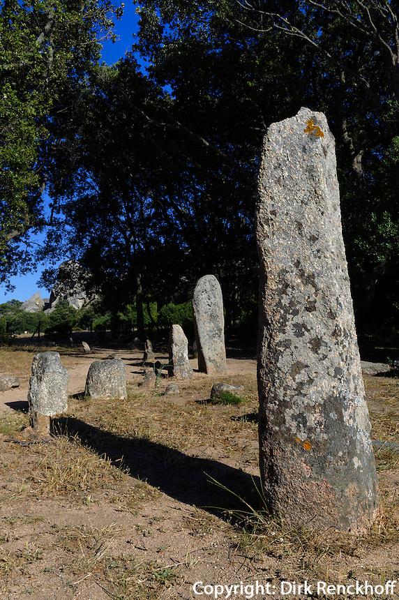 Prähistorische Funde von Cauria, Menhire Alignement de Renaghju, Korsika, Frankreich