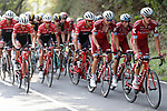 Team Katucha Alpecin and Trek-Segafredo in action during Stage 19 of the 2017 La Vuelta, running 149.7km from Caso. Parque Natural de Redes to Gij&oacute;n, Spain. 8th September 2017.<br /> Picture: Unipublic/&copy;photogomezsport | Cyclefile<br /> <br /> <br /> All photos usage must carry mandatory copyright credit (&copy; Cyclefile | Unipublic/&copy;photogomezsport)