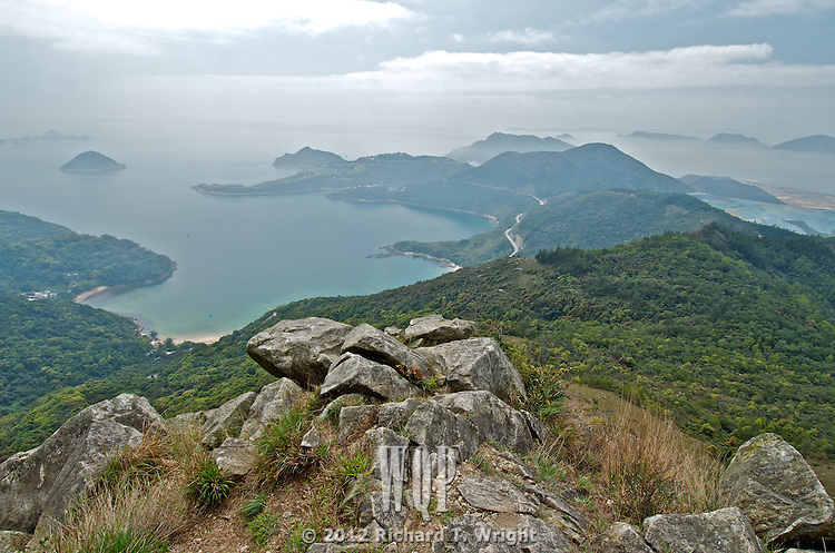 A view of Clearwater Bay from Junk Peak, a popular weekend hiking trail in Hong Kong