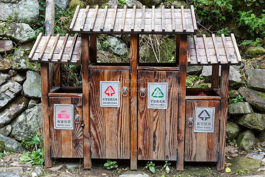 Linkeng, Zhejiang, China.  Bilingual Signs on Waste Bins for Recyclable Trash.