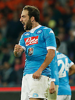 Gonzalo Higuain celn during the  italian serie a soccer match,between SSC Napoli and Udinese      at  the San  Paolo   stadium in Naples  Italy , November 08, 2015