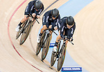 The team of New Zealand with Racquel Sheath, Rushlee Buchanan, Kirstie James and Jaime Nielsen competes in the Women's Team Pursuit Finals as part of the 2017 UCI Track Cycling World Championships on 13 April 2017, in Hong Kong Velodrome, Hong Kong, China. Photo by Chris Wong / Power Sport Images