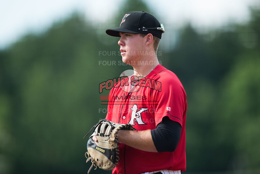 Kannapolis Intimidators first baseman Gavin Sheets (23) on defense against the Hagerstown Suns at Kannapolis Intimidators Stadium on July 9, 2017 in Kannapolis, North Carolina.  The Intimidators defeated the Suns 3-2 in game two of a double-header.  (Brian Westerholt/Four Seam Images)