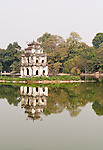 Tortoise Tower 03 - The historic Tortoise Tower, Thap Rua, reflected in the waters of Hoan Kiem Lake, Hanoi, Vietnam