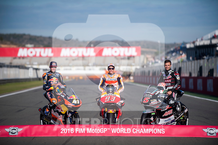 VALENCIA, SPAIN - NOVEMBER 11: Marc Marquez, Brad Binder, Johann Zarco during Valencia MotoGP 2016 at Ricardo Tormo Circuit on November 11, 2016 in Valencia, Spain