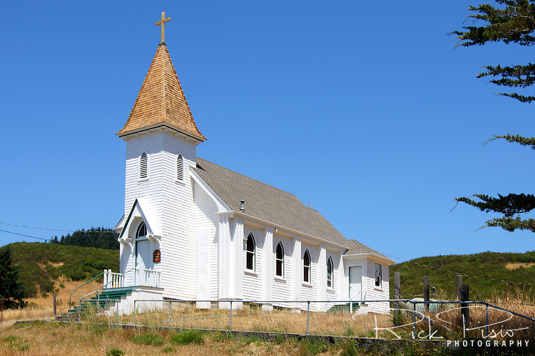 St. Patrick's Catholic Church in Petrolia, California. The church was built in 1912 and the front was rebuilt in 1958 after lightning struck the steeple and burned a the front section of the church. Photographed 07/08