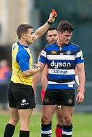 Referee Luke Pearce todays referee, Luke Pearce shows the red card to Bath Rugby's Freddie Burns<br /> <br /> Photographer Bob Bradford/CameraSport<br /> <br /> Aviva Premiership - Bath Rugby v Worcester Warriors - Saturday 7th October 2017 - The Recreation Ground - Bath<br /> <br /> World Copyright &copy; 2017 CameraSport. All rights reserved. 43 Linden Ave. Countesthorpe. Leicester. England. LE8 5PG - Tel: +44 (0) 116 277 4147 - admin@camerasport.com - www.camerasport.com