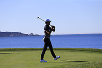 Rafa Cabrera-Bello (ESP) sinks his birdie putt on the 7th green at Pebble Beach course during Friday's Round 2 of the 2018 AT&amp;T Pebble Beach Pro-Am, held over 3 courses Pebble Beach, Spyglass Hill and Monterey, California, USA. 9th February 2018.<br /> Picture: Eoin Clarke | Golffile<br /> <br /> <br /> All photos usage must carry mandatory copyright credit (&copy; Golffile | Eoin Clarke)