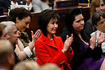 First Lady Kathy Sisolak, center, listens as Nevada Gov. Steve Sisolak delivers his State of the State address to the Legislature in Carson City, Nev., on Wednesday, Jan. 16, 2019. His daughter Ashley Sisolak is at right. (Cathleen Allison/Las Vegas Review-Journal)