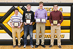 March 6, 2017- Tuscola, IL- The 2016-2107 Tuscola Warrior Boys Basketball award recipients. From left are Dalton Hoel (Defense), Zach Kibler (Warrior Spirit), Ray Kerkhoff (Free Throw & Rebounds), and Kaleb Williams (MVP). [Photo: Douglas Cottle]