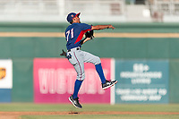 AZL Rangers second baseman Jayce Easley (71) throws to first base during an Arizona League playoff game against the AZL Indians 1 at Goodyear Ballpark on August 28, 2018 in Goodyear, Arizona. The AZL Rangers defeated the AZL Indians 1 7-4. (Zachary Lucy/Four Seam Images)
