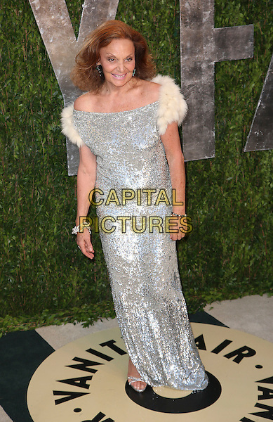 Diane von Furstenberg.2013 Vanity Fair Oscar Party following the 85th Academy Awards held at the Sunset Tower Hotel, West Hollywood, California, USA..February 24th, 2013.oscars full length dress  white fur silver sequins sequined .CAP/ADM/SLP/DOW.©Dowling/StarlitePics/AdMedia/Capital Pictures