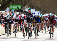 Picture by Alex Broadway/SWpix.com - 07/03/17 - Cycling - 2017 Paris Nice - Stage Three - Chablis to Chalon-sur-Saône - Sam Bennett of Bora-Hansgroghe celebrates as he wins the stage.