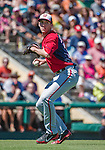 14 March 2014: Washington Nationals pitcher Taylor Jordan makes a play to first during a Spring Training game against the Detroit Tigers at Joker Marchant Stadium in Lakeland, Florida. The Tigers defeated the Nationals 12-6 in Grapefruit League play. Mandatory Credit: Ed Wolfstein Photo *** RAW (NEF) Image File Available ***