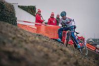 Ben Tulett (GBR) maintaining control while (almost) slipping off the camber <br /> <br /> Men&rsquo;s Junior race<br /> <br /> UCI 2019 Cyclocross World Championships<br /> Bogense / Denmark<br /> <br /> &copy;kramon