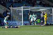 17th March 2019, Dens Park, Dundee, Scotland; Ladbrokes Premiership football, Dundee versus Celtic; Odsonne Edouard of Celtic celebrates after scoring the only goal of the game in the 96th minute